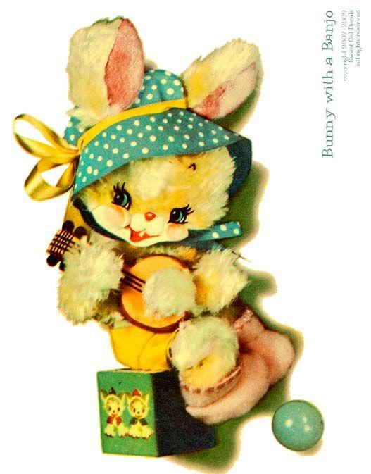 Vintage Crib Decals Bunny With A Banjo Nursery Decal