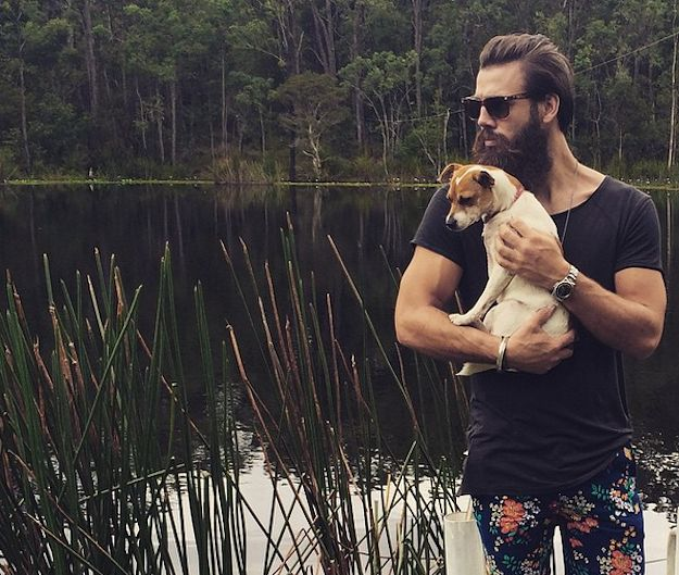 Hot men with beard and puppies = <3