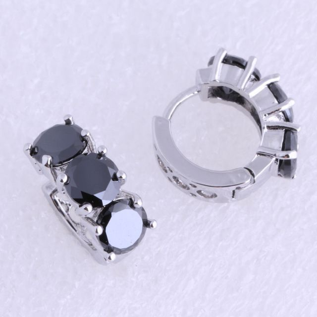 Sale Today $5.27, Buy Love Monologue Excellent Black Onyx Hoop Earrings 925 Stamp Silver Color for Unisex Jewelry J0375 Free Fast Shipping