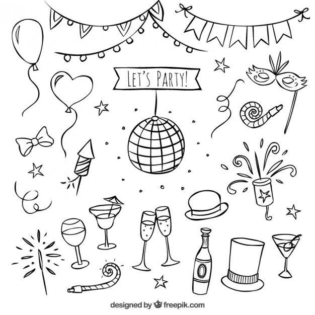 Elementos del partido dibujado a mano Vector Gratis