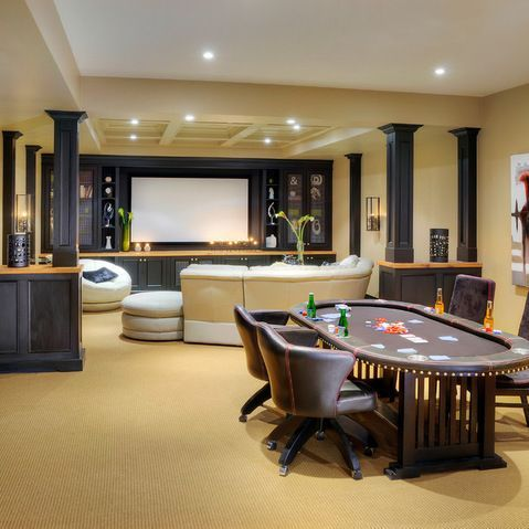 Perfect basement...camt wait to finish ours! Justin would obviously have a poker table :)