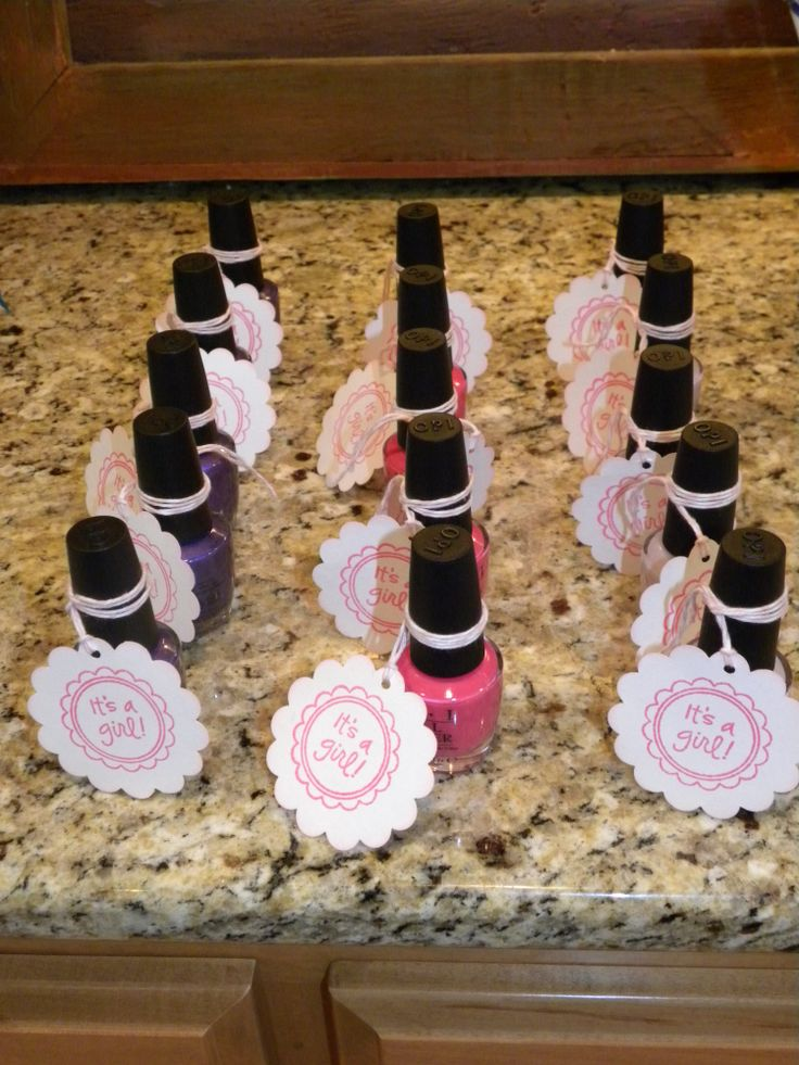 It's a Girl! OPI nail polish favors! baby shower ideas