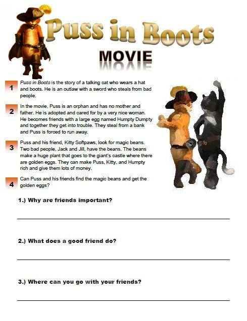 Puss In Boots Movie Worksheet Esl Movies Pinterest