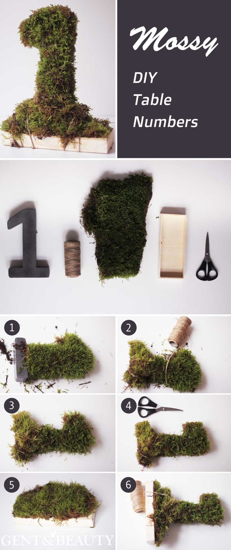 Mossy DIY Table Numbers