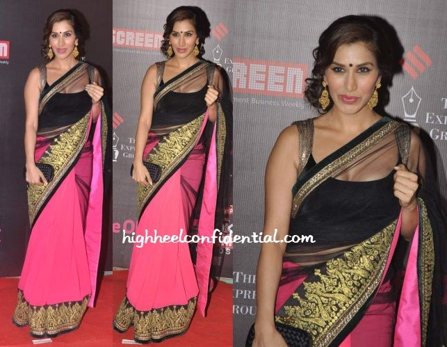 Sophie in Manish Malhotra - net and crepe and brocade, hot pink and black....