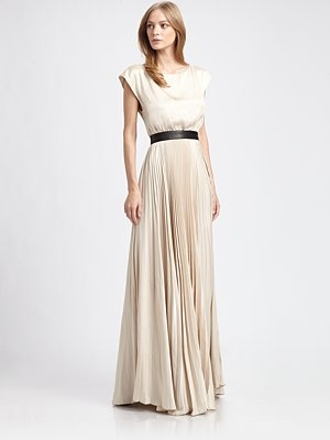 Alice olivia triss pleated silk maxi dress fashion for Saks fifth avenue wedding dresses los angeles