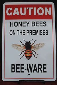 Honey Bee Sign BEE-WARE, Cool Gift for Beekeeper, Christmas or Birthday #beekeeping #raisingbees