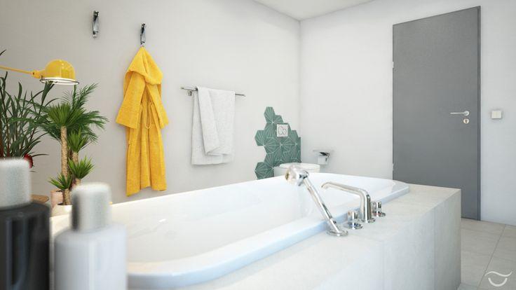 Die riesige Badewanne lädt nur so zum Entspannen ein