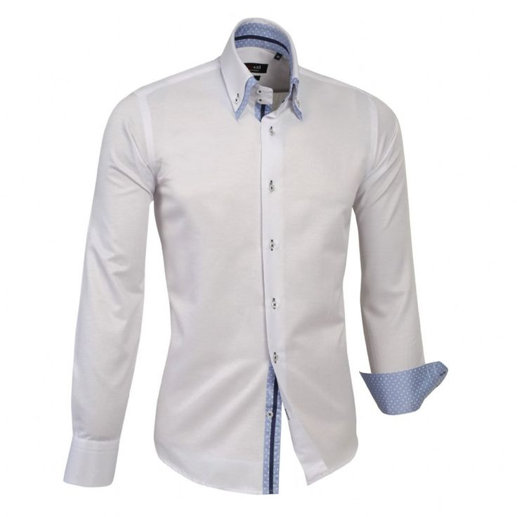Shop online from our beautifully tailored Farrabi shirts. Button down – Polka Under Collar Slim Fit Formal Double collar dress shirt White/Blue. Check out other polka shirts!