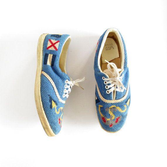 1960s Van Doren (early Vans) nautical needlepoint sneakers