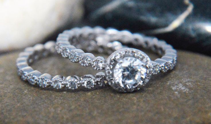 Round halo AAAAA grade cubic zirconia solitaire eternity band  bridal set with milgrains .925 sterling silver by IsaBellaJewellery on Etsy