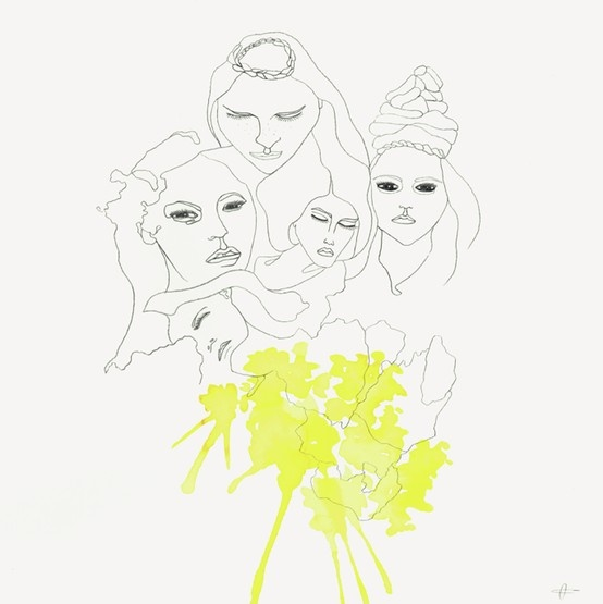 www.laracostafreda.com #despertares #sleepingwoman #fashionillustrator #fashionillustration #laracostafreda #womaninyellow #muse #art #ilustracion #ilustrador #barcelona #arte