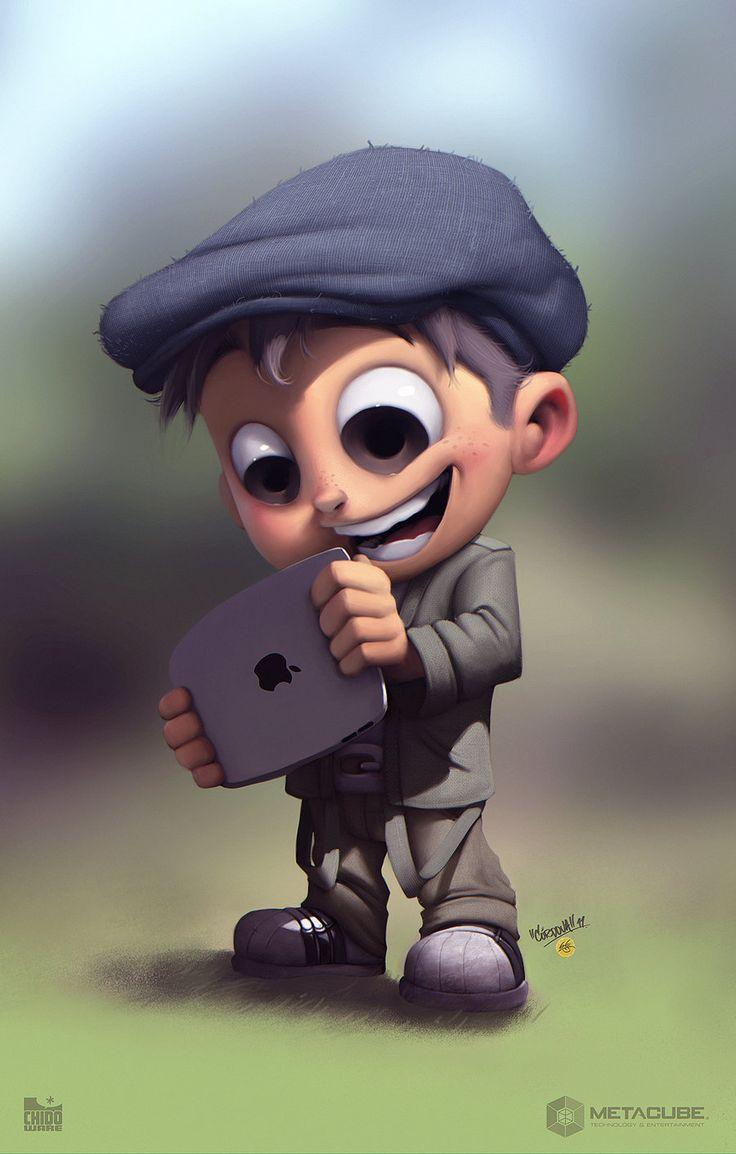 Conceptual boy cartoon character.