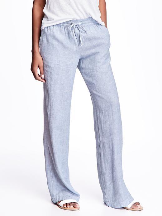Wide-Leg Linen Pants for Women Product Image