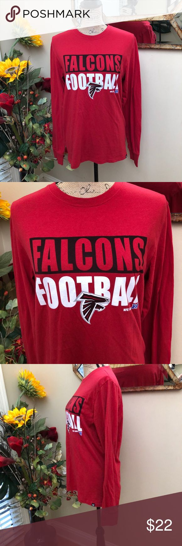 "🌹ATLANTA Falcons long sleeve game day tee! 🌹ATLANTA Falcons long sleeve game day tee! Great way to show your support for the home team! NFC South. Preloved in excellent condition. Pit to pit measurement is 18"". Length is 27"". 47 Tops Tees - Long Sleeve"