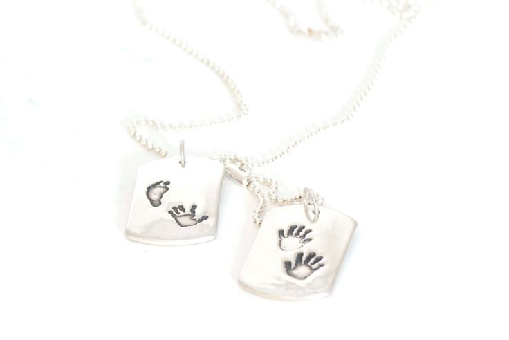 Handprint Dogtag Pendant, Handprint Dog Tag Keepsake Necklace, Pendant for Men, Dog Tag for Men, Handprint Jewelry, Fathers Day Gift by SilverSculptor on Etsy