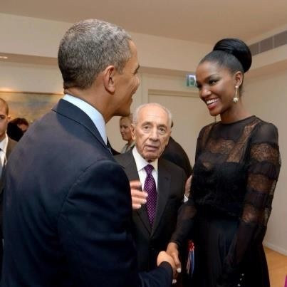 President Obama meets Miss Israel, Yityish Aynah, during his trip to Israel at a…