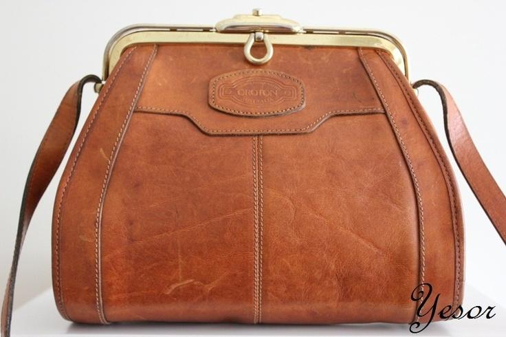 OROTON Tan Vintage 80's Leather Day Bag - ITS MINE. i won the bidding! YEAHBOYYYY.