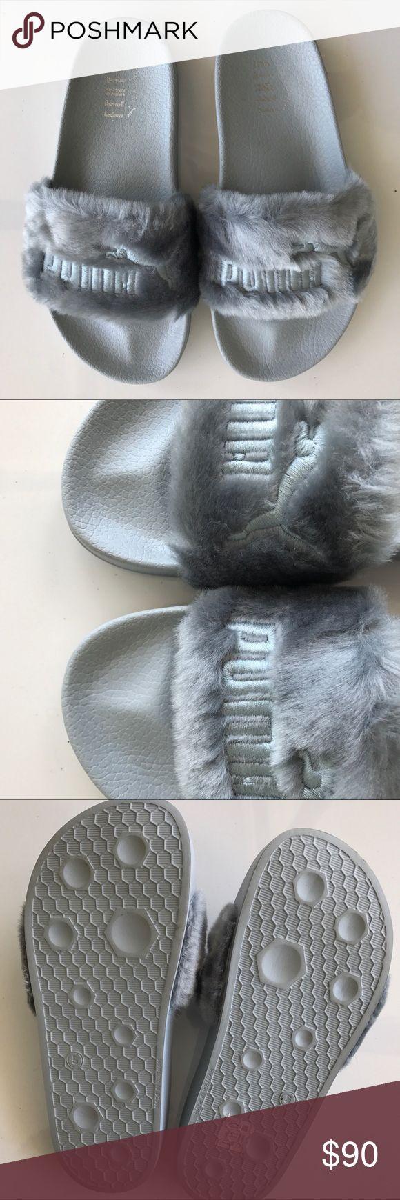Puma x Rihanna Fenty Slides Faux Fur Gray Puma x Rihanna Fenty Slides Faux Fur Gray. Like new condition. Size 7.5. These run big. Puma Shoes Sandals