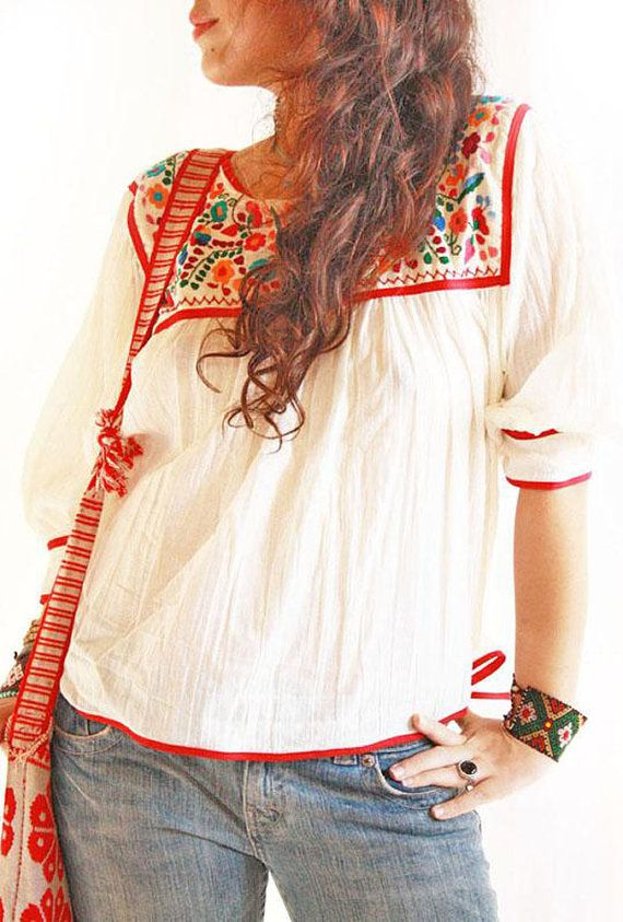 Dominga boho bordado mexicano hippie chic blusa algodón gasa