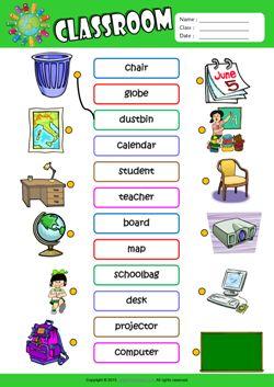 Classroom ESL Matching Exercise Worksheet For Kids
