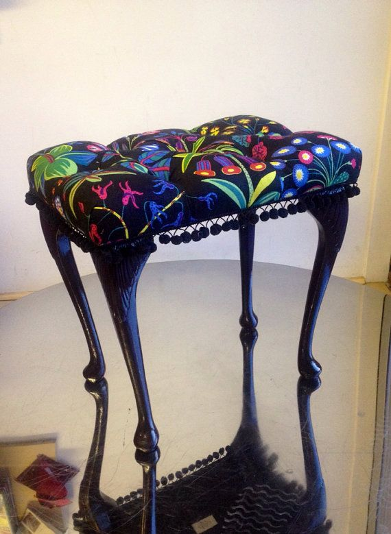 Deep buttoned dressing table stool. Ray Clarke Upholstery UK