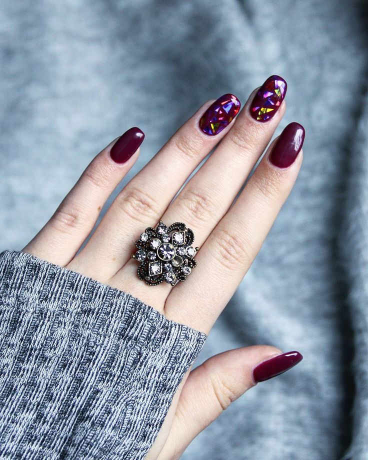 Burgundy 'glass' nails