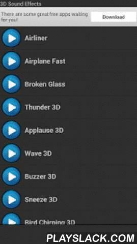 3D Sound Effects  Android App - playslack.com , 3D sound effects is free and includes 3D ringtones and sounds that you can use as your ringtone, notification, alarm, SMS, text message sound, email alert and tone or ringtone for a person, and best of all, it's free. Simply tap a sound to hear the 3d ringtone. This app is easy to use and always free.Enjoy these free cool 3D sound effects and ringtones.With this app you can set ringtone for:Tone for callsTone for notificationTone for alarmTone…