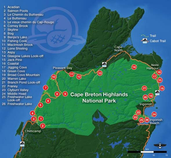 Hiking Trail Map for Cape Breton Highlands National Park - Includes links to descriptions of each trail
