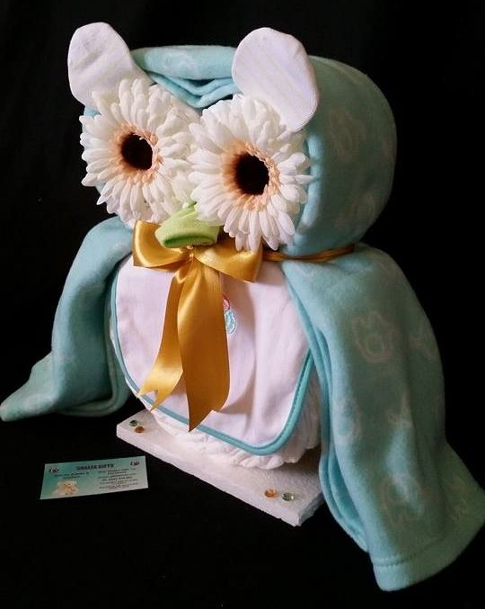 *Hootie Cutie Owl* Baby Gift  Shalea Gifts Design  Contains 36 Infant Nappies, 1 Baby Wash Cloth, 2 Baby Feeding Bibs, 1 Fleece Blanket/Wrap, 1 pair Baby Socks, 2 Reusable Artificial Flowers ............. Decorated/Embellished, Finished with Cellophane & Ribbon