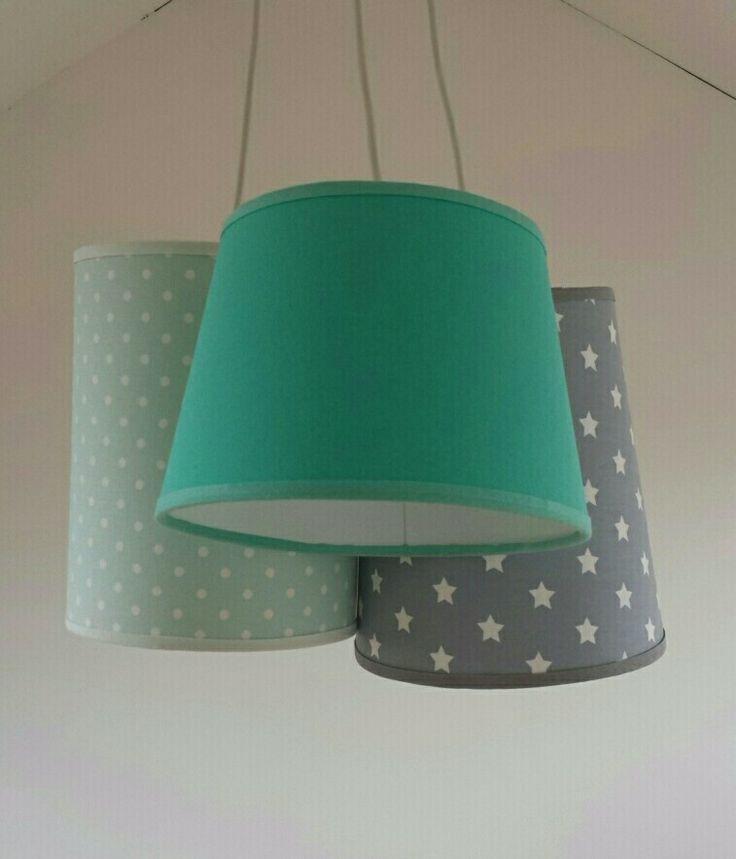 hanglamp mint en grijs van www.facebook.com/lampenkapatelieroldenzaal