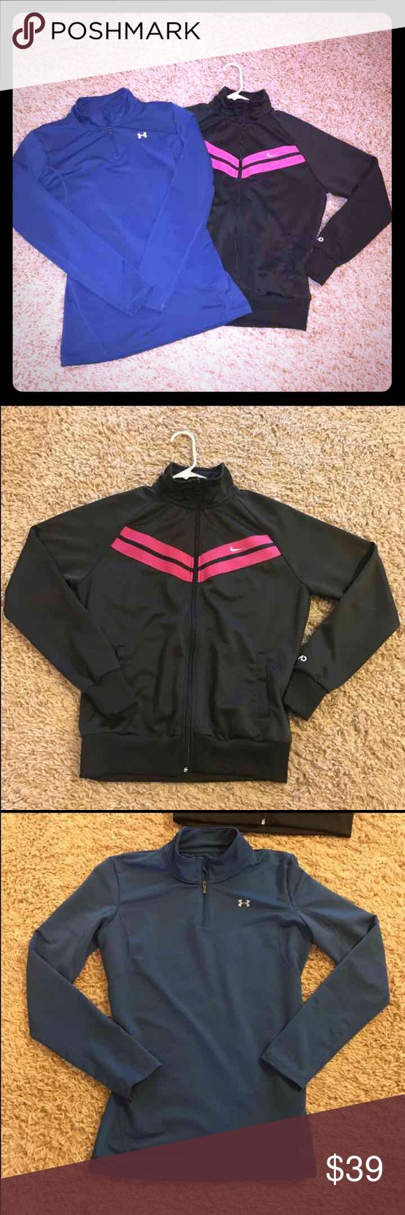Women's large bundle Under Armour Nike Cute gray with pink striping detail Nike zip up and Navy blue Under Armour long sleeve partial zip. Both size large. Good condition Nike Tops
