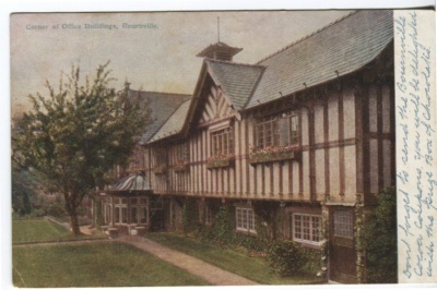 Unknown Publisher Postcard - Cadbury's Advertising Card - Corner of office buildings, Bournville
