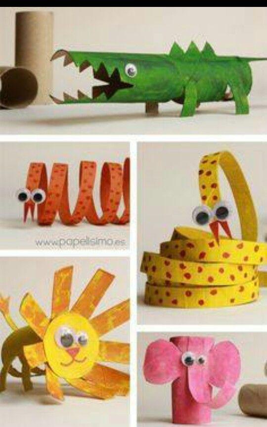 Animais de rolo de papel higiênico