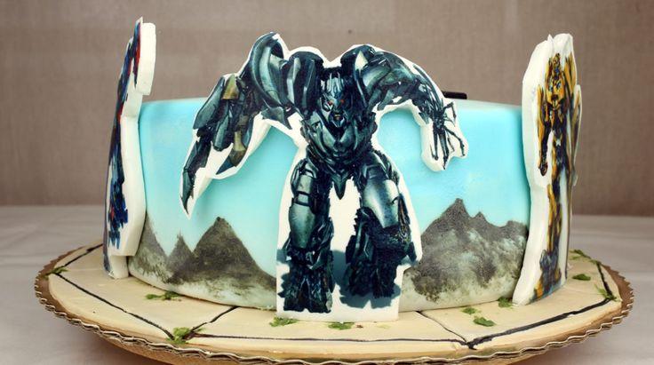 TRANSFORMERS CAKE -  orchideli-transformers-tort urodzinowy dla chłopca z transformersami, wydruk na masie cukrowej