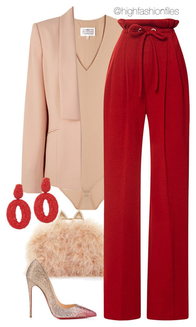 """Vday Attire"" by highfashionfiles ❤ liked on Polyvore featuring Maison Margiela, BCBGMAXAZRIA, Rodarte, Kaliko, Oscar de la Renta, Christian Louboutin, women's clothing, women, female and woman"