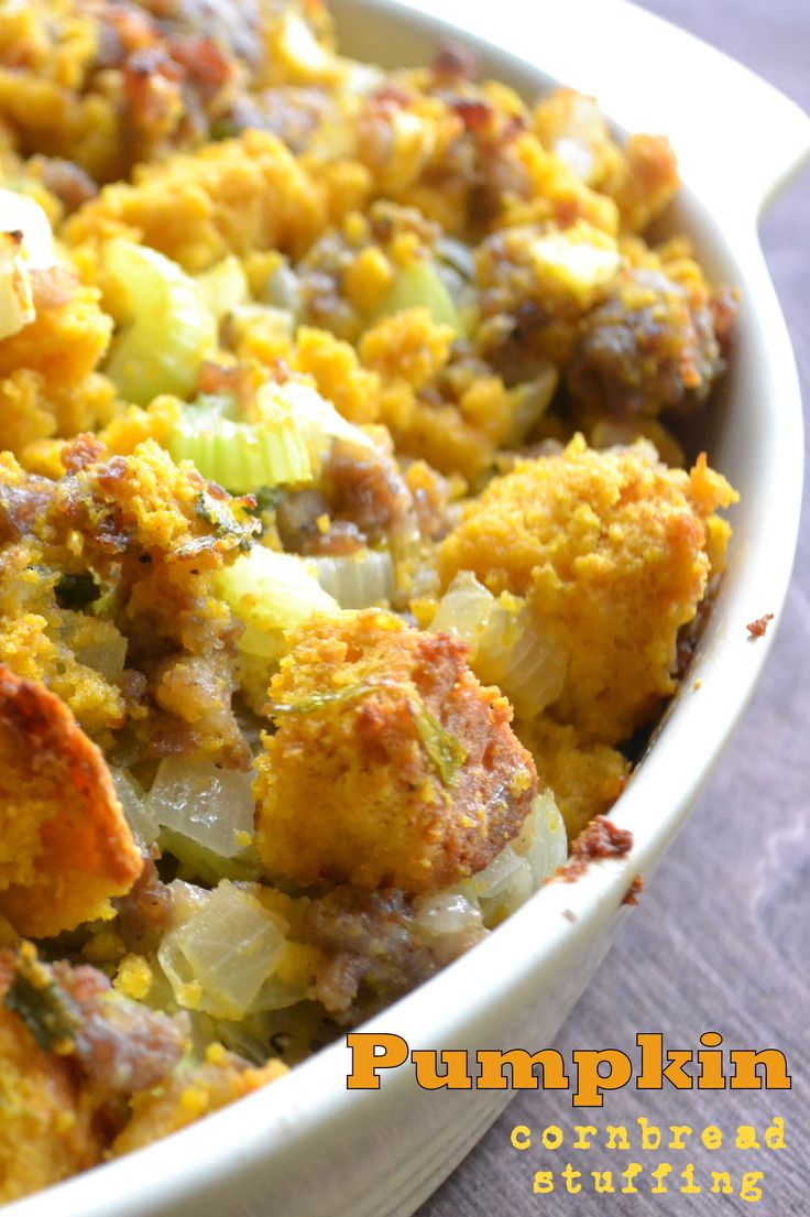 This is made with a luscious Pumpkin Cornbread!  Great holiday stuffing!