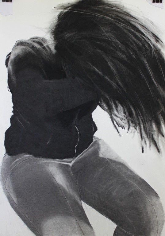 "Tanya Poole ""Hlumi's Hair Flip"" from The Becoming Child series. 2013, charcoal on Cannaletto"