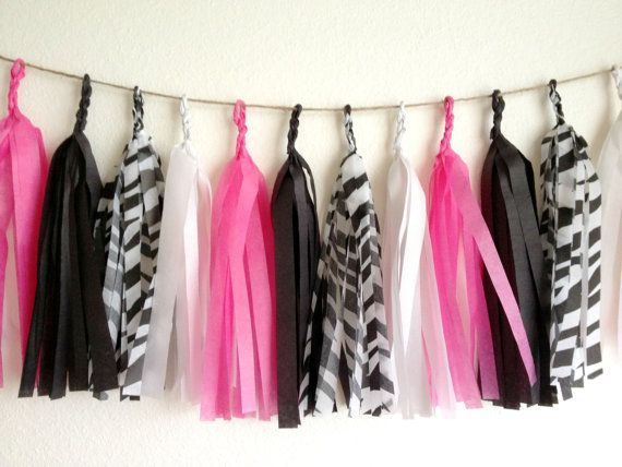 Hot Pink Zebra Tissue Paper Tassel Garland  - Party - Wedding - Baby Shower - Nursery