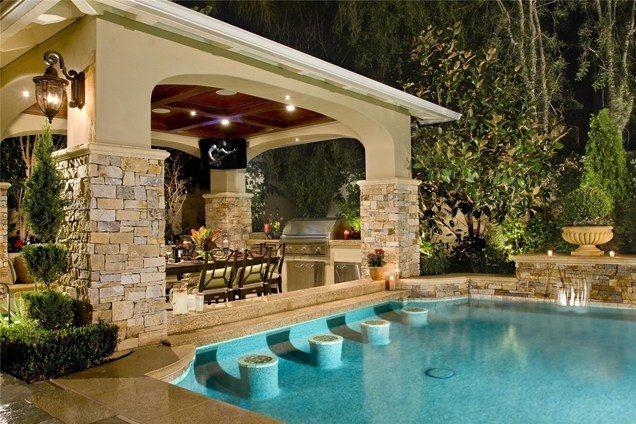 backyard swimming pool with swim up bar