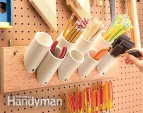 Short PVC pieces keep things organizedSaw off short pieces of 1-1/2-, 2- or 3-in. PVC plumbing pipe with 45-degree angles on one end. Screw them to a board to hold paintbrushes, pencils, stir sticks and just about any other narrow paraphernalia in your garage. Mount them by drilling a 1/4-in. hole in the angled end, and then drive a 1-5/8-in. drywall screw through the hole into the board.