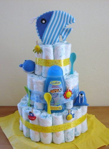Unique Boy Diaper Cakes... instructions and photos of unique boy diaper gifts