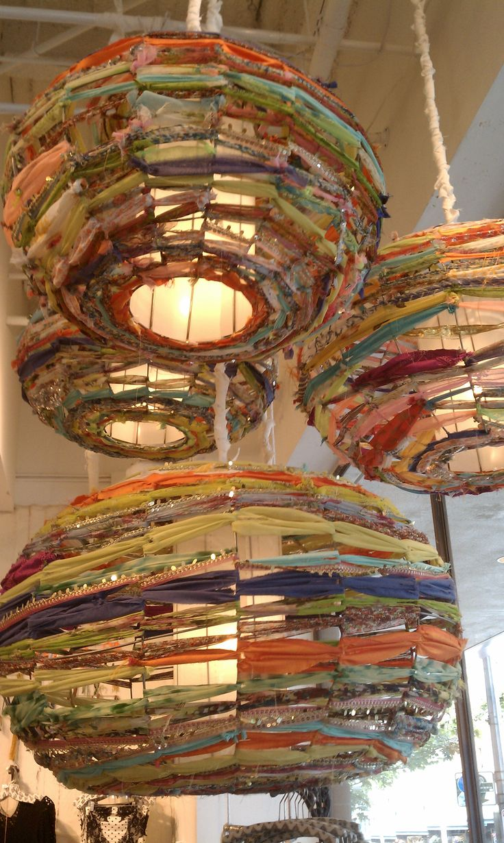 Weave fabric lanterns-Katherine, I can totally see these in your nursery room!