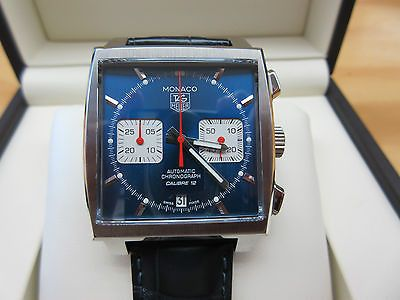 New TAG Heuer Monaco Chronograph Caliber 12 Steel Blue Dial CAW2111.0 Mens Watch