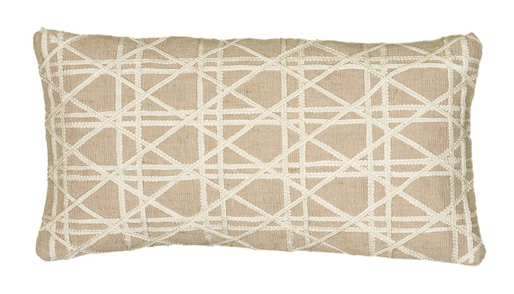 """Embroidered Natural Pillow Cover (11"""" x 21"""")"""