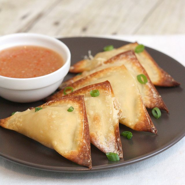 Baked Crab Rangoon with sweet chili sauce