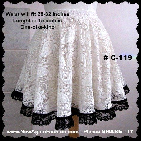 "Skirt # C-119 - 28-32"" waist - Cream paisley lace fully lined skirt - LIKE my Facebook page to see all the new and exciting aprons I post on a regular basis at www.fb.com/TrophyWifeAprons"