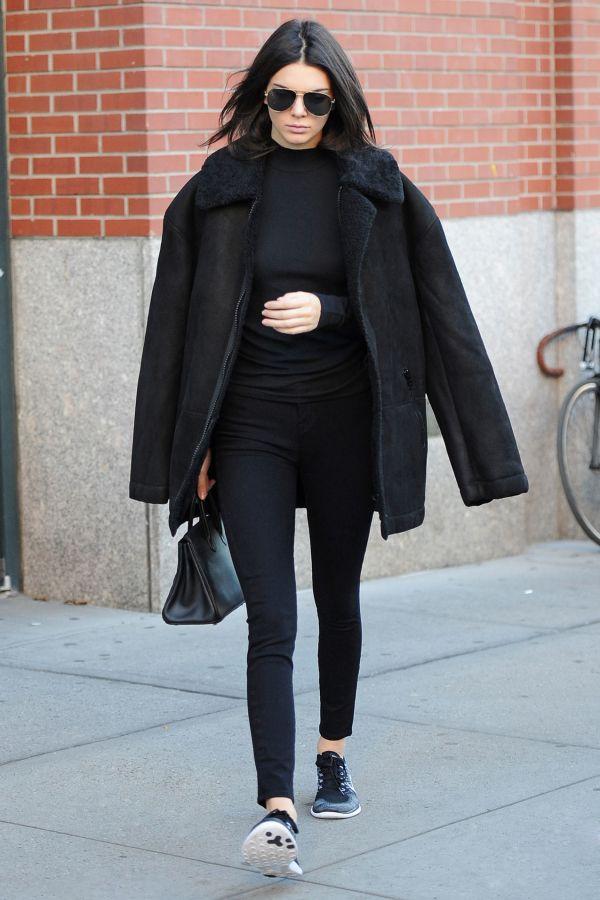 Kendall Jenner wearing black head to toe