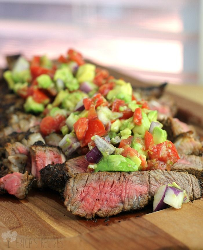 Coffee-Crusted Bone-in Ribeye with Avocado Relish from EricasRecipes.com