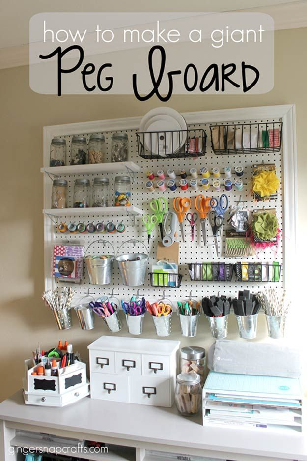 Check out 15 Sewing Room DIY Organization | Giant Peg Board by DIY Ready at diyready.com/...